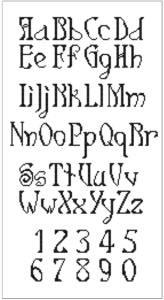Cross stitch alphabet font